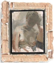Hanna in the lamplight, oil on plaster, 30×35 cm, 2009