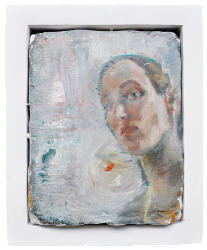 with fish, oil on plaster, 26×34 cm, 2010