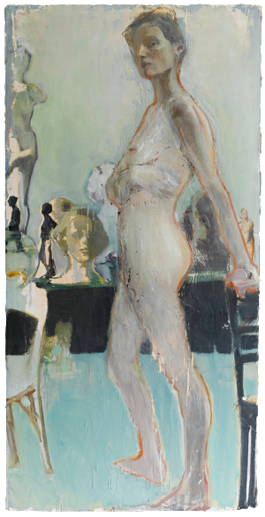 with chairs, oil on plaster, 75×148 cm, 2010
