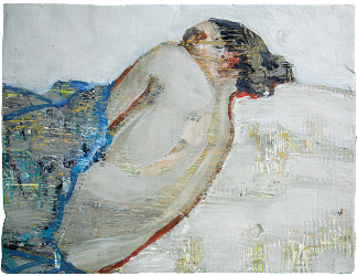 Eve wanted God, oil on plaster with plaster frame, 31x26cm, 2007