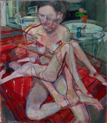 living frame, huile sur toile avec cadre en plâtre, 85x100 cm, 2015