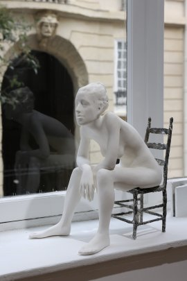 Kristina, plaster figure with bronze chair, 1/8, 2015