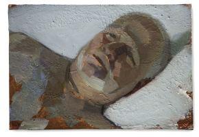 man of letters, huile sur plâtre, 16x24 cm, 2015