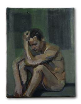 green A, huile sur plâtre, 27x35 cm, 2015