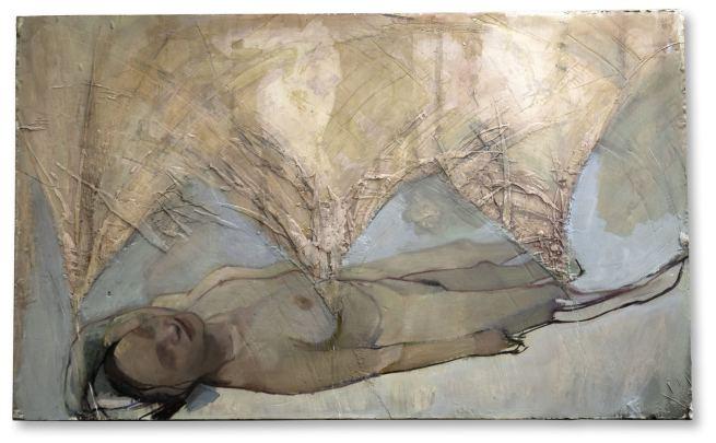 mélodie du bonheur, huile sur plâtre sculpté, 75x123 cm, 2015