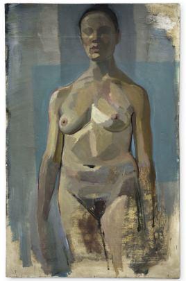 standing blue, huile sur plâtre, 72x113 cm, 2014