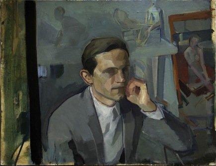 le visiteur, huile sur plâtre, 65x86 cm,  2015
